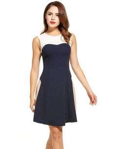 Women O-Neck Sleeveless Patchwork Fit and Flare Cocktail Party A-Line Casual Dresses