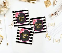 Floral Thank You Tags - Gold Confetti Party Favor Tag - Black & White Stripe Thank You Sticker - Instant Download - Printable
