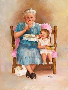 Grandma & Child ~ Dianne Dengel- miss my gran Grands Parents, Grandchildren, Granddaughters, Illustrations, Illustration Art, Images Vintage, Old Folks, Grandma And Grandpa, Paintings I Love