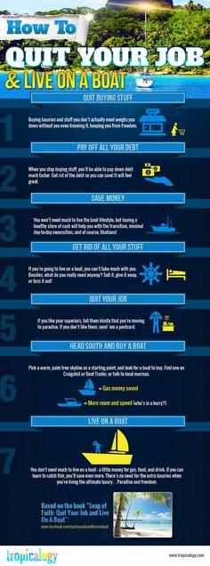 We don't live on a boat (maybe one day) but most if these steps apply to saving up and heading out to travel or live abroad! Via Tripacalogy: How to quit your job and live on a boat. - Infographic