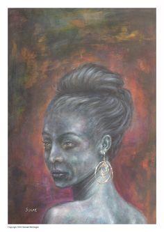 Woman portrait painting water colour girl  female by Paintzstudio