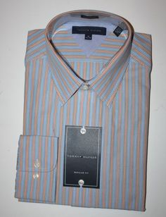 NEW-TOMMY-HILFIGER-Mens-Striped-Dress-Shirt-Spread-Collar-Long-Sleeve-Reg-Fit
