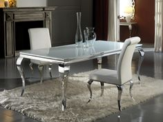 Modern Louis White Glass Dining Table And Chair Set At Julietteu0027s  Interiors, A Large Collection Of Luxurious Italian Dining Room Furniture.