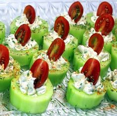 Cucumbers, cream cheese and tomatos