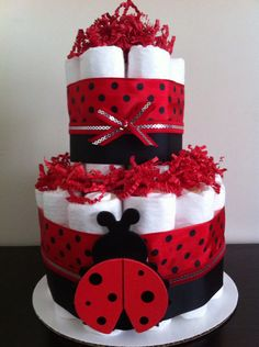 2 Tier Mini Ladybug Diaper Cake Lady Bug by BabeeCakesBoutique, $25.00