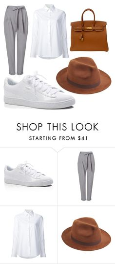 """Fedora hat"" by nicole-manda ❤ liked on Polyvore featuring Puma, Phase Eight, Misha Nonoo, Larose and Hermès"