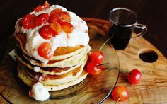 pancake with cherry sauce