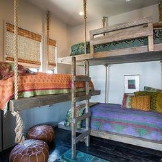 reclaimed wood rope hanging bunk beds
