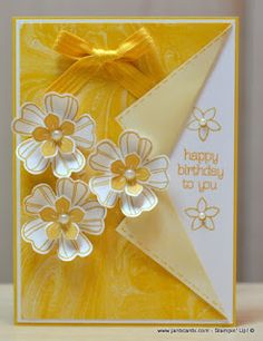 handmade card from JanB Handmade Cards Atelier: Feminine Flowery Collar Fold Card ... sunny yellow and white ... layered and shaped flower trio ... Stampin' Up!