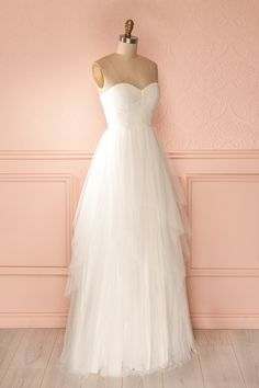 Sara - White cascading tulle bridal bustier gown