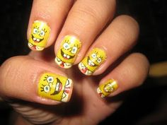 happy spongebob nails