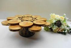 10 Wood Cake Stand Rustic Wedding Centerpiece Wooden
