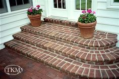 Ideas For Brick Patio Steps Front Walkway Patio Steps, Brick Steps, Garden Steps, Front Porch Steps, Front Walkway, Front Porches, Brick Porch, Brick Patios, Brick Driveway