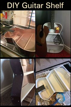 DIY Guitar Shelf Turn your worn-out guitar into a decorative piece of furniture for your living room. Guitar Shelf, Cool Guitar, Furniture For You, Furniture Decor, Best Safes, Third World Countries, Interesting Conversation, Recycling Ideas, Hand Saw