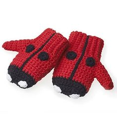 Crochet Ladybird Mittens UK PATTERN. HERE DC  ARE OUR SC