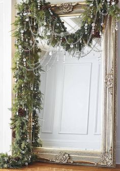 Frontgate Crystal Ice 60 Piece Ornament Collection. I have this mirror in gold...doing this for Christmas. Can't wait to see how it turns out. ~ El