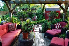 cottage garden with bold splashes of red