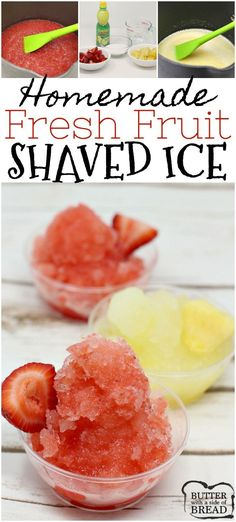 Homemade Fresh Fruit Shaved Ice is the perfect summer treat! Fresh fruit is so m… Homemade Fresh Fruit Shaved Ice is the perfect summer treat! Fresh fruit is so much healthier than those store-bought syrups and you can make any flavor! Slushie Syrup Recipe, Shave Ice Syrup Recipe, Shaved Ice Recipe, Frozen Drinks, Frozen Desserts, Frozen Treats, Fresh Fruit Desserts, Fruit Ice, Easy Desserts