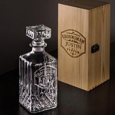 Awesome Groomsmen Gifts Personalized Whiskey Decanter Set – All Things Etching