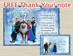 Disney FROZEN invitation, frozen birthday invitation, frozen invitation - THANK YOU note for free!!