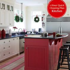 1-Hour Quick Clean Plan: Kitchen.  What a gorgeous island and sink