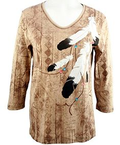Cactus Bay Apparel  Eagle Feathers 34 Sleeve VNeck Rhinestone Cotton Top * Check this awesome product by going to the link at the image.
