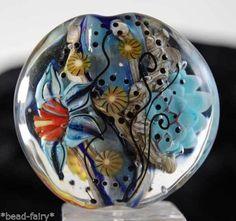 So+beautiful+Large+Lentil+Focal+handmade+glass+beads+Beadfairy+Lampwork