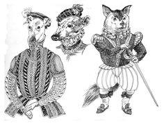 """sketchbook doodle 2014 """"Elizabethan Canines"""""""