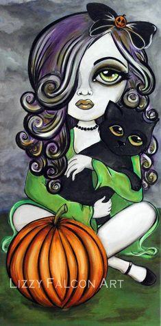 Sexy Girl with Black Cat & Pumpkin