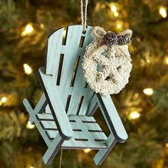 Beach Items Holiday Ornaments Decorations Christmas Time Blue Chairs House Sea Shells