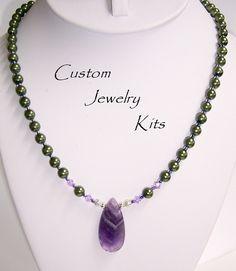 Beginner jewelry kit, Amethyst pendant necklace Kit w green crystal pearls lavender Swarovski accents KIT, DIY Necklace kit, DIY beading kit by LovelyDawn on Etsy Diy Jewelry For Beginners, Diy Jewelry Making Kits, Jewelry Kits, Custom Jewelry, Amethyst Necklace, Amethyst Pendant, Crystal Necklace, Pendant Necklace, Diy Necklace Kit