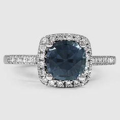 Platinum Sapphire Sonora Halo Diamond Ring // Set with a 6.5mm Teal Cushion Sapphire (From Unique Colored Gemstone Gallery) #BrilliantEarth