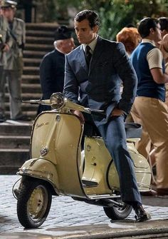 HC filming 'The Man From U.N.C.L.E.! You look good on a scooter!!