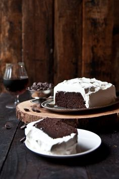 ONE BOWL! Just takes five minutes to make this Chocolate Stout Loaf Cake with Bourbon Whipped Cream