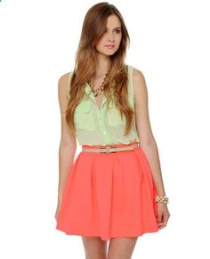 Coral Skirt with light yellow button up... cant wait for SUMMER!!!