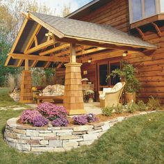 covered patio, i like the stone wall too