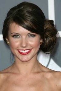 Side Bun Hairstyles curly blonde side bun for fine hair Audrina Patridge Big Messy Side Bun Updo Hairstyle With Side Bangs