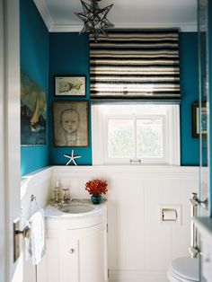 Inspiring Small Sink For Small Bathroom: Awesome Eclectic Powder Room With White Ceramic Wall Plus Blue Paint Wall Window Glass And Unique C...