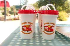 Our Daniel Tiger Birthday Party! Trolley cups from Mr. Rogers' website - $1 each!