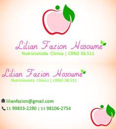 Cartão de visita da linda Nutricionista Lilian Fazion Hosoume