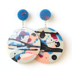 Large Resin Double Disk Drop Statement Earrings -Assorted One of a Kind Colourways, Handmade in Melbourne