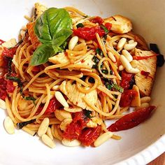 9 Flat Belly Chicken Dishes : Capellini with Pine Nuts, Sun-Dried Tomatoes, and Chicken http://www.prevention.com/weight-loss/flat-belly-diet/healthy-chicken-dinner-recipes-flat-belly?s=7?cm_mmc=Eat-Up-Slim-Down-_-1784362-_-07282014-_-9-slimming-chicken-dinners-read-more