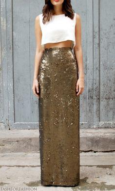Long golden skirt and white top
