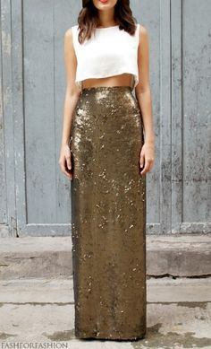 Long golden skirt and white top