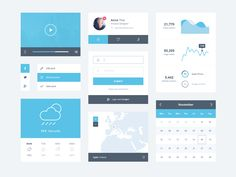 Ice Blue Minimal UI Kit Free PSD