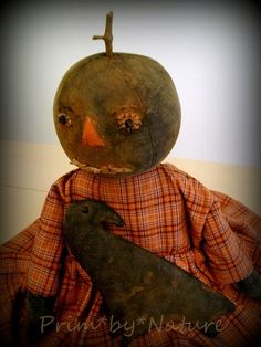 Primitive Black Pumpkin Doll