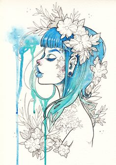 "Limited+Edition+print+of+""Blue+Rain""+by+Gwen+D'Arcy+on+high+quality+exhibition+grade+paper.+Original+piece+created+with+Watercolors+&+Faber-Castell+PITT/Copic+ink+liners+on+watercolor+paper."