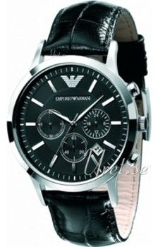 Emporio Armani Maximus Sort/Læder Ø43 mm