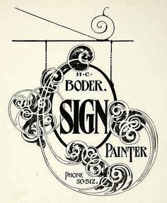 1937 Print Design Sign Cut Out Art Nouveau Scroll Typography Hang Frank…