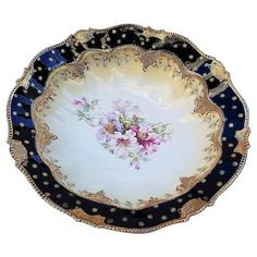 "Prussia 10 ½"" Iris Mold Cobalt Bowl w/ Pink Poppy décor Poppy Decor, White Iris, Red And Pink Roses, Hand Painted Plates, Pink Poppies, Gold Gilding, Prussia, Cobalt Blue, Floral"